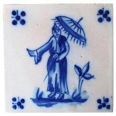 Antique Portuguese Tile depicting a Chinese Man, 19th Century, Tin-Glazed Pottery