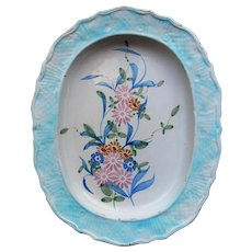 Antique Portuguese Wall Oval Plate depicting Flowers, Glazed Earthenware