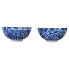 Antique Set of 2 Chinese Porcelain Bowl, White and Blue