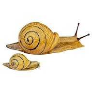 Antique Portuguese Set of 2 Palissy Ware Snails, Majolica, Caldas Portugal, Earthenware