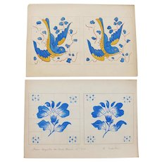 Early 20th Century, Antique Set of 4 Watercolor Projects for Tiles, depicting Birds, Flowers, Boats