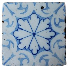 Antique Snowflake Tile, 19th Century, Portuguese, Tin-Glazed Pottery