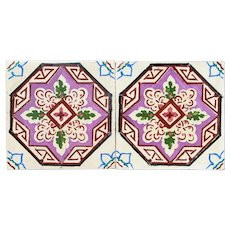 Antique Arte Deco Tiles Depicting Leaves and Geometric Forms - Set of 2