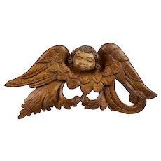 Portuguese Antique Wooden Cherub, Baroque Angel, 18th Century, Sacred Scultpure
