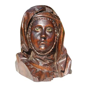 Antique Wooden Head of The Virgin Mary With Glass Eyes, 17th Century, Portuguese