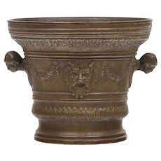 An Antique Renaissance Italian Bronze Large Mortar, 17th century