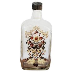 Portuguese Arte Deco Enameled Glass Brandy Bottle depicting Birds and Flowers