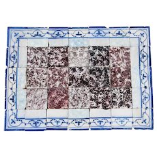18th Century Tile Mural Panel, Aubergine Spongeware Surrounded by Blue & White Flowers
