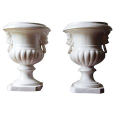 Antique Pair of Portuguese White Tin-glazed Earthenware, Architectural Urn Finials