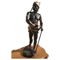 "A Spelter Viking Statue, 43"", After Edouard Drouot (French)"