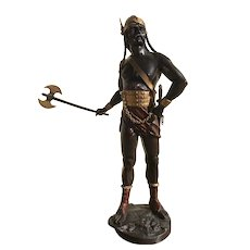"A Spelter Viking Statue 44"", After Edouard Drouot (French)"
