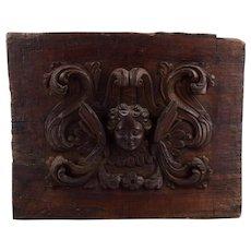 Antique Wooden Cherub, Baroque Wall Retable, Baroque Angel, Antique 18th Century