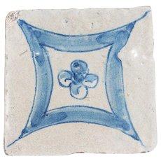 Baroque Flower, 18th Century, Portuguese Tile, Tin-glazed pottery