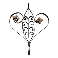 Baroque Heart, Handcrafted Wrought Iron Ornament with Gold Leaf, 18th Century