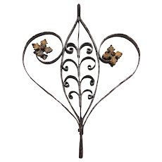 Baroque Heart, Handcrafted Cast Iron Ornament with Gold Leaf, 18th Century