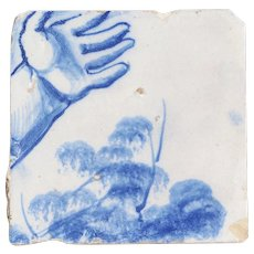 Baroque Hand Tile, 18th Century, Portuguese, Tin-glazed pottery