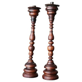 Portuguese Pair of Carved and Turned Wood Candlesticks, 17th/18th Century