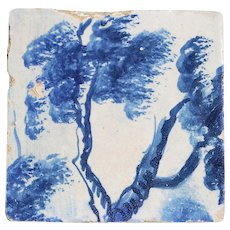 Baroque Tree Tile, 18th Century, Portuguese Glazed Ceramic
