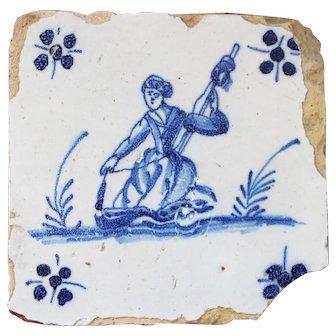 Baroque Woman, 18th Century, Portuguese Tile