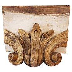 Original 18th Century Baroque / Rococo Wood Carved Gilt Ornament