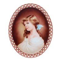 Beautiful Hand-Painted Porcelain Portrait Wall Plaque, Signed Elvira Aguiar