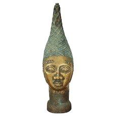 Vintage Lost-Wax Benin Bronze Head of an Iyoba (Queen Mother), African