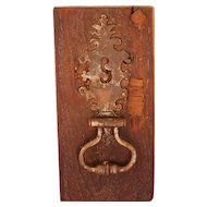 Big and Rare Portuguese 18th Century Baroque Handcrafted Cast Iron Door Knocker from a Castle