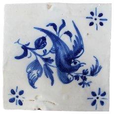 18th Century Blue and White Portuguese Bird Scene Tile, Antique