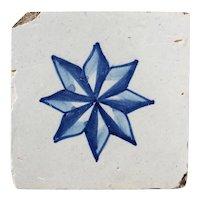 18th Century Antique Portuguese Blue Star Tile