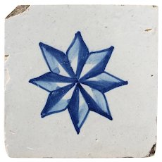 18th Century Antique Portuguese Blue Star Tile