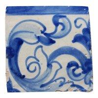 17th Century Antique Portuguese Blue & White Rocaille Tile