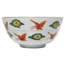 1900s Antique Chinese Export Butterfly Porcelain Bowl