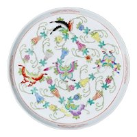 1900s Antique Chinese Export Butterfly Porcelain Tea Tray