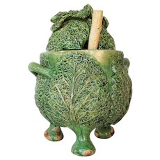 Antique Portuguese Palissy Ware Cabbage Tureen, Majolica, Caldas Portugal, Earthenware