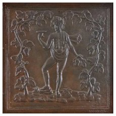 French Cast Iron Fireback depicting the God Bacchus