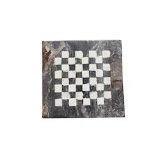 Mid-Century French Checkerboard in Fossilized Marble
