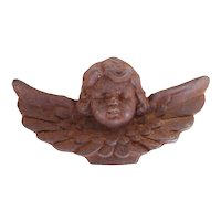 Rare Cherub Angel Architectural Finial, Cast Iron, 19th Century Antique