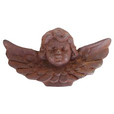 Rare Cherub Angel Architectural Finial, Cast Iron, 19th Century Antique