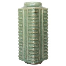 Chinese Longquan Celadon Crackle Glazed Cong-Form Vase
