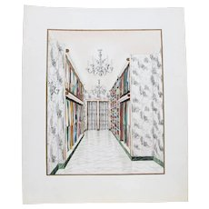 1960s French Interior Gouache Design Project depicting a Closet