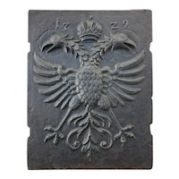 Original 1729 Antique Large Cast Iron Fireback depicting a Crowned Double Headed Eagle with Halos