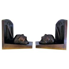 19th Century Bronze Bookends depicting the Death Mask of Napoleon, French Antique
