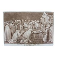 18th Century Etching / Engraving of the Death of St. Benedict, Italian