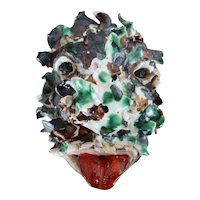 Demon Face, Studio Pottery, Glazed Earthenware