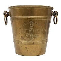 Very Rare 1930s Douat Frères Bordeaux Brass Ice Bucket For Wine