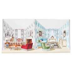 1960s French Interior Gouache Design Project depicting a Double Room
