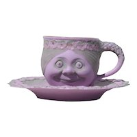 Rare Schafer & Vater Double Sided Face Tea Cup and Saucer