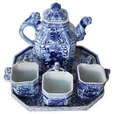 Antique Early 20th Century Chinese Porcelain Tea Set depicting Foo Dogs