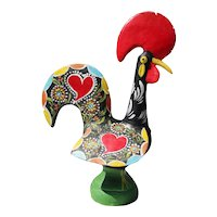 Early 20th Century, A Rare Hand Painted Earthenware Model of a Rooster, Portuguese