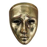 Art Deco Earthenware Mask With Gold Leaf, Signed